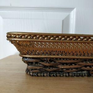 Vintage brass frame wicker-lined vanity tray